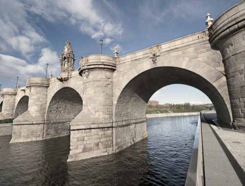 Views of Toledo Bridge, Puente de Toledo in Spanish, over Manzanares River, Madrid, Spain. It was built in XVII century.